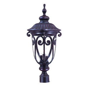 Naples Marbleized Mahogany Three-Light 25.75-Inch Outdoor Post Mount