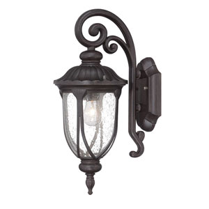 Laurens Black Coral 7-Inch One-Light Outdoor Wall Mount with Clear Seeded Glass