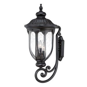 Laurens Matte Black 12-Inch Three-Light Outdoor Wall Mount with Clear Seeded Glass