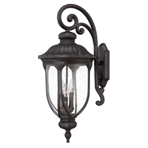 Laurens Black Coral Three-Light Outdoor Top Mount Wall Fixture with Clear Seeded Glass