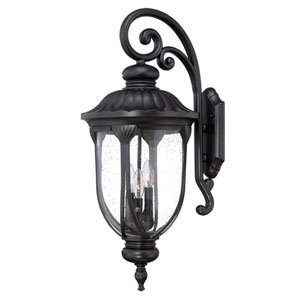 Laurens Matte Black Three-Light Outdoor Top Mount Wall Fixture with Clear Seeded Glass