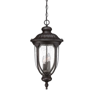 Laurens Black Coral Three-Light Outdoor Hanging Lantern with Clear Seeded Glass