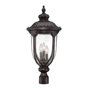 Laurens Black Coral Three-Light Outdoor Post Mount with Clear Seeded Glass