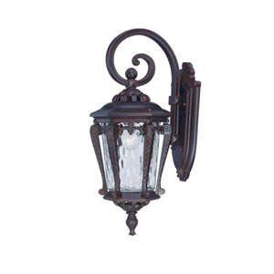 Stratford Architectural Bronze One-Light Outdoor Hanging Wall Mount with Clear Hammered Water Glass