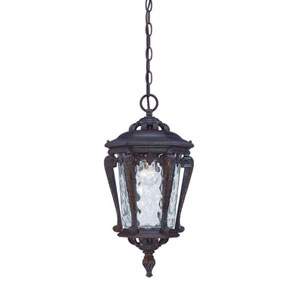 Stratford Architectural Bronze One-Light Outdoor Hanging Fixture with Clear Hammered Water Glass