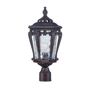 Stratford Architectural Bronze One-Light Outdoor Post Mount with Clear Hammered Water Glass