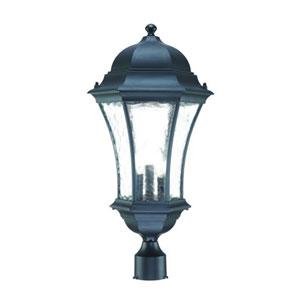 Waverly Matte Black Three-Light 24.5-Inch Outdoor Post Mount