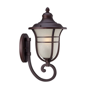 Montclair Architectural Bronze One-Light Outdoor Bottom Mount Wall Fixture with Frosted Seeded Glass