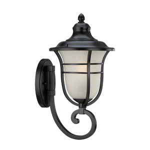 Montclair Matte Black One-Light Outdoor Bottom Mount Wall Fixture with Frosted Seeded Glass