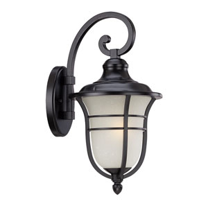 Montclair Matte Black One-Light Outdoor Wall Mount with Frosted Seeded Glass