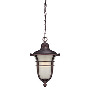 Montclair Architectural Bronze One-Light Outdoor Hanging Fixture with Frosted Seeded Glass