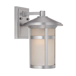 Phoenix Brushed Silver One Light Wall Lantern Fixture