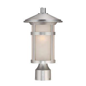 Phoenix Brushed Silver One Light Post Lantern Fixture