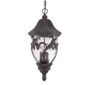 Capri Black Coral 12-Inch Three-Light Outdoor Pendant