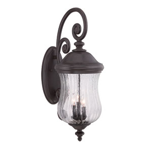 Bellagio Black Coral 31-Inch Three-Light Outdoor Wall Mount