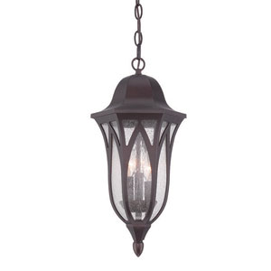 Milano Architectural Bronze Nine-Inch Three-Light Outdoor Pendant