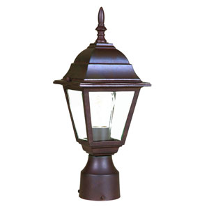 Builders Choice Burled Walnut One-Light Outdoor Post Mount with Clear Beveled Glass