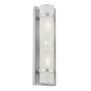 Apollo Brushed Silver Two-Light Outdoor Wall Mount