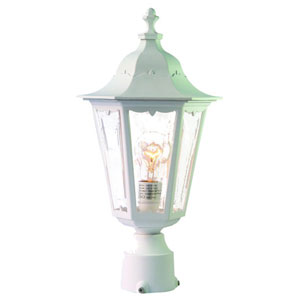 Tidewater Textured White One-Light 18-Inch Outdoor Post Mount