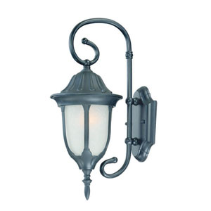 Suffolk Matte Black One-Light Outdoor Wall Mount with Frosted Glass