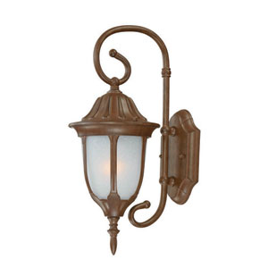 Suffolk Burled Walnut One-Light Outdoor Wall Mount with Frosted Glass