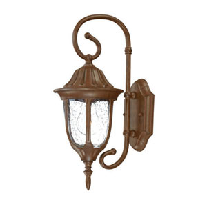 Suffolk Burled Walnut One-Light Outdoor Wall Mount with Clear Seeded Glass