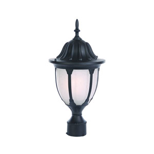 Suffolk Matte Black One-Light Post Head Frosted Glass