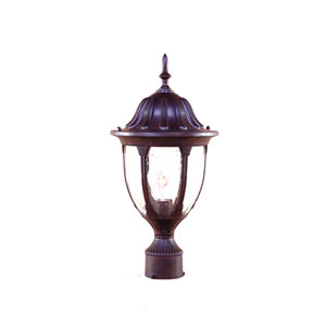 Suffolk Burled Walnut One-Light Post Head Clear Seeded Glass