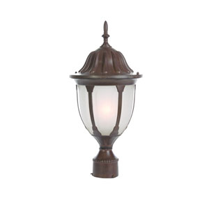 Suffolk Burled Walnut One-Light Post Head Frosted Glass