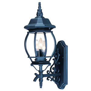 Chateau Matte Black Three-Light 22-Inch Outdoor Wall Mount