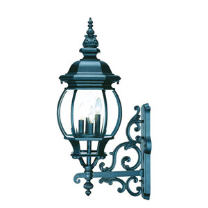 Chateau Matte Black Four-Light 29-Inch Outdoor Wall Mount