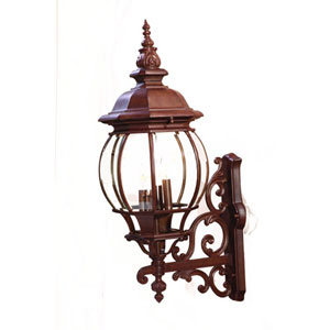 Chateau Burled Walnut Four-Light 29-Inch Outdoor Wall Mount
