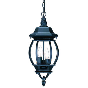 Chateau Matte Black Three-Light 19.5-Inch Outdoor Pendant