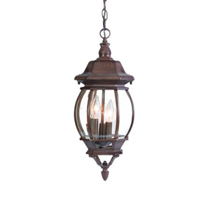 Chateau Burled Walnut Three-Light 19.5-Inch Outdoor Pendant