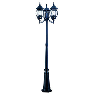 Chateau Matte Black Three-Light 85-Inch Outdoor Post Mount and Post