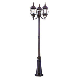 Chateau Burled Walnut Three-Light 85-Inch Outdoor Post Mount and Post