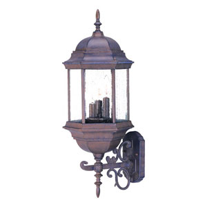Madison Burled Walnut Three-Light 24.75-Inch Outdoor Wall Mount