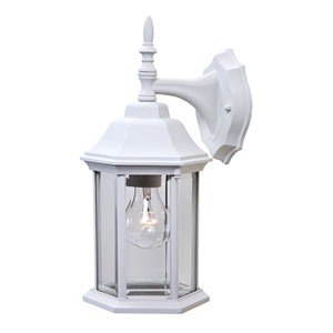 Craftsman 2 Textured White One-Light Outdoor Wall Mount