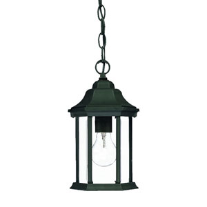 Madison Matte Black One-Light Hanging Fixture Clear Beveled Glass