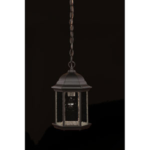 Madison Matte Black One-Light Hanging Fixture Clear Seeded Glass