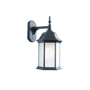 Craftsman Matte Black One-Light Wall Fixture Frosted Glass