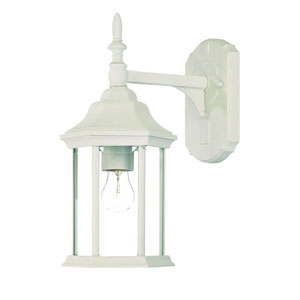 Craftsman Textured White One-Light Wall Fixture Clear Beveled Glass