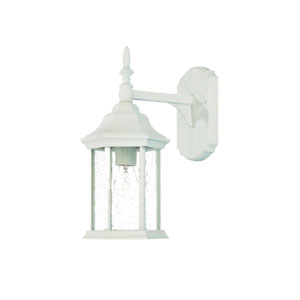 Craftsman Textured White One-Light Wall Fixture Clear Seeded Glass