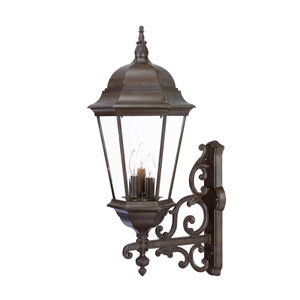 Richmond Burled Walnut Three-Light 30.5-Inch Outdoor Wall Mount