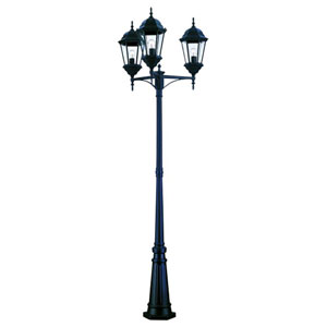 Richmond Matte Black Three-Light 94-Inch Outdoor Post Mount and Post
