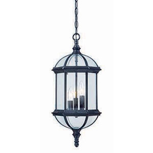 Dover Matte Black Three-Light Outdoor Hanging Fixture with Clear Beveled Glass