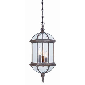 Dover Burled Walnut Three-Light Outdoor Hanging Fixture with Clear Beveled Glass