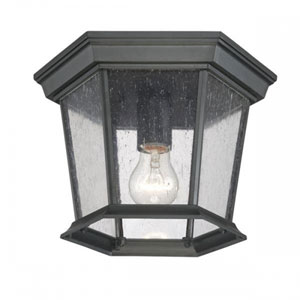 Dover Matte Black One-Light Outdoor Ceiling Mount with Clear Seeded Glass