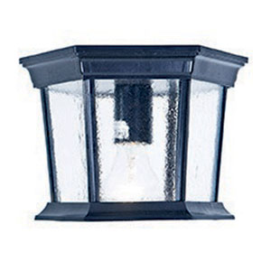 Dover Matte Black One-Light Outdoor Ceiling Mount with Clear Beveled Glass