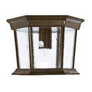 Dover Burled Walnut One-Light Outdoor Ceiling Mount with Clear Beveled Glass